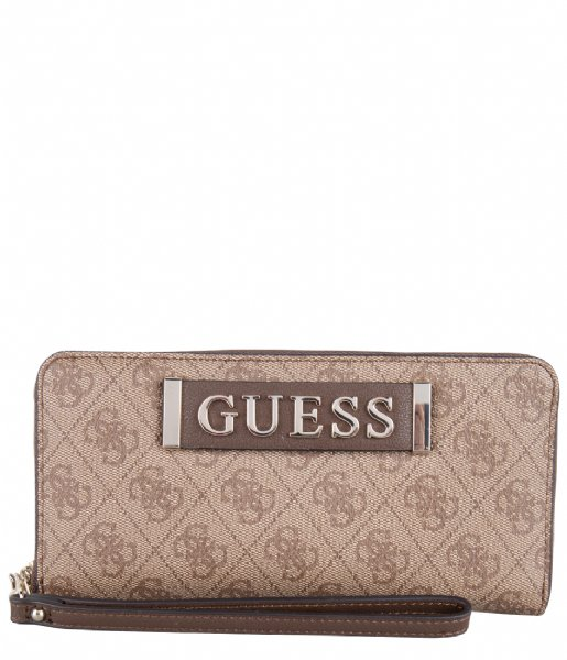 Guess Ritsportemonnee Kerrigan SLG Large Zip Around brown