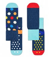 Happy Socks Kids Anti-Slip 2 Pack Big Dot socks big dot (6500)
