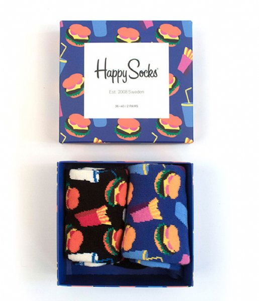 Happy Socks Sokken SMU 2-pack Hamburger Gift Box hamburger (6000)