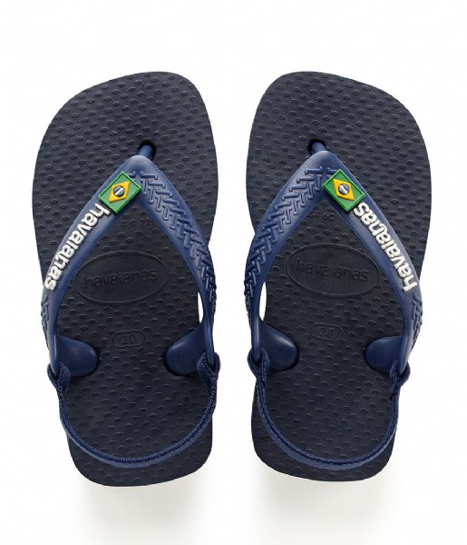 Havaianas Slippers Baby Flipflops Brasil Logo navy blue citrus yellow (3587)