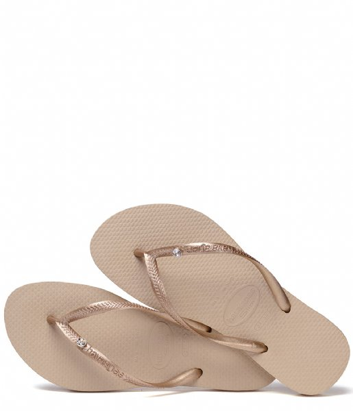 Havaianas Slippers Flipflops Slim Crystal Glamour rose gold colored metallic (8548)