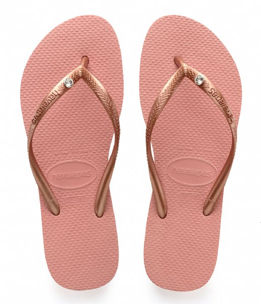 Havaianas Slippers Flipflops Slim Crystal Glamour rose nude (7939)