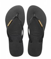 Havaianas Flipflops Slim Logo Metallic black/gold colored (1924)