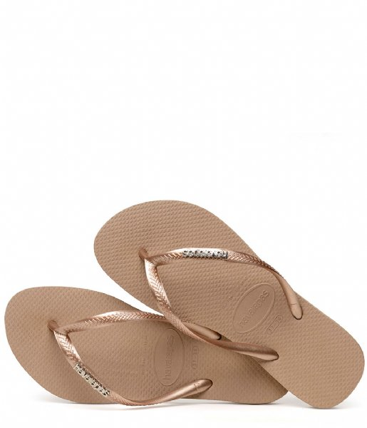 Havaianas Slippers Flipflops Slim Logo Metallic rose gold colored (5282)