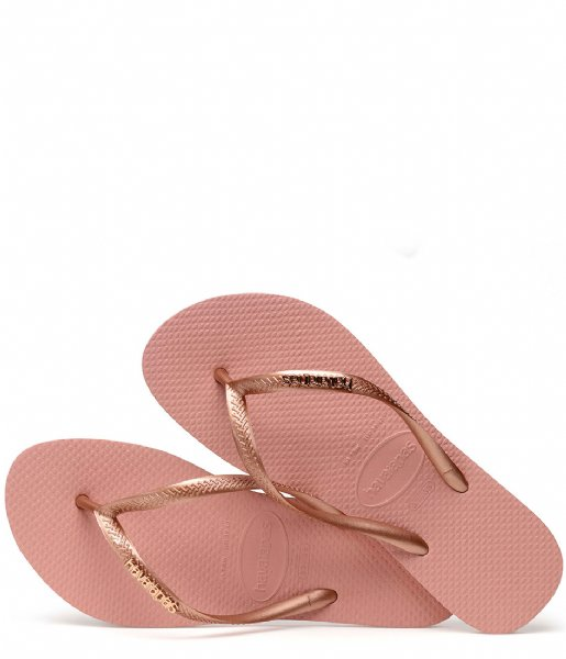 Havaianas Slippers Flipflops Slim Logo Metallic rose nude rose gold colored (3655)