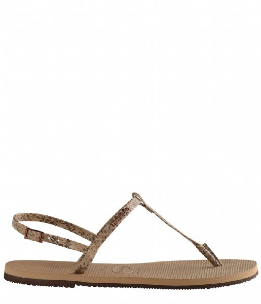 Havaianas Slippers Flipflops You Riviera Croco rose gold colored (3581)