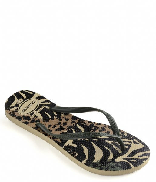 Havaianas Slippers Flipflops Slim Animals grey green olive (7807)