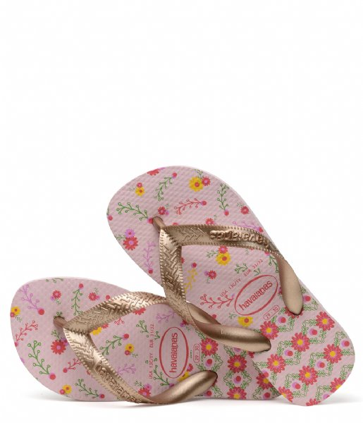 Havaianas Slippers Kids Flipflops Flores Crystal rose rose gold colored metallic (7667)