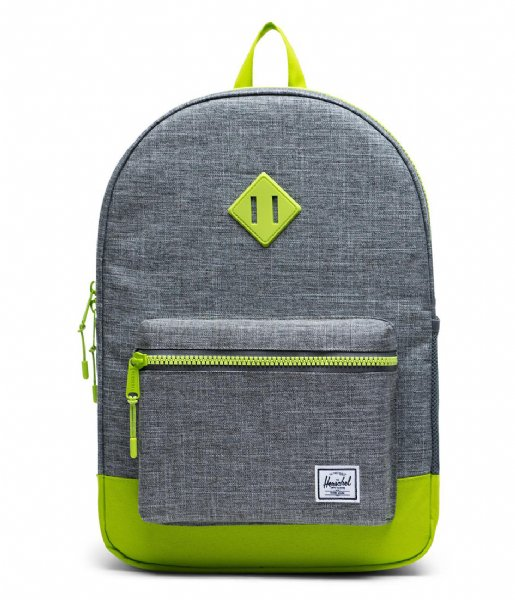 Herschel Supply Co. Dagrugzak Heritage Youth XL raven crosshatch lime green (03024)