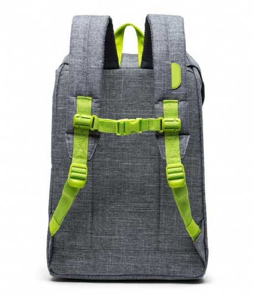 Herschel Supply Co. Dagrugzak Retreat Youth raven crosshatch lime green (03024)