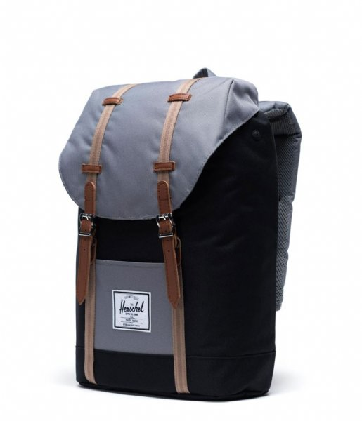 Herschel Supply Co. Laptop rugzak Retreat 15 Inch black grey pine bark tan (03257)