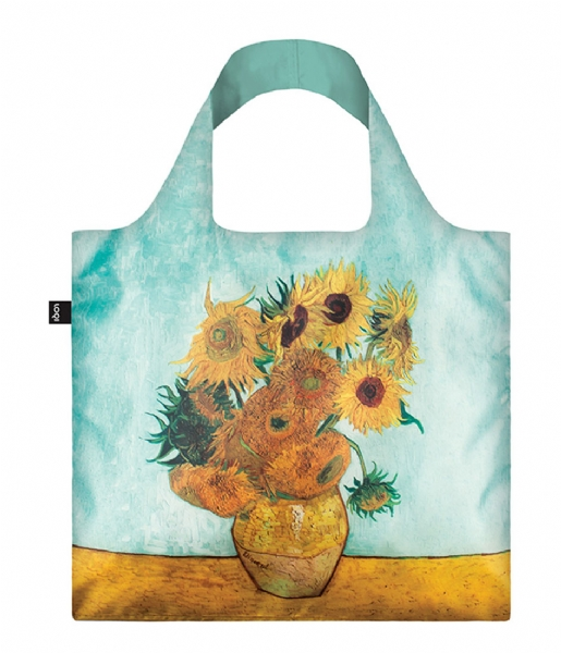 LOQI Shopper Foldable Bag Museum Collection vase with sunflowers
