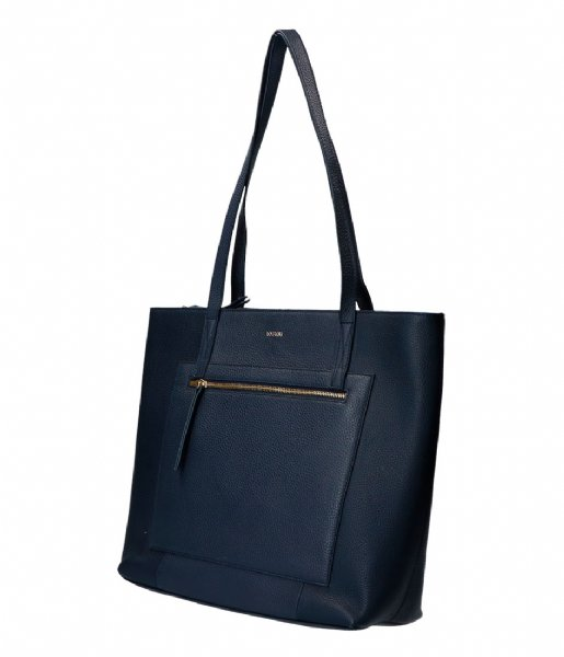 LouLou Essentiels Handtas Bag Girl Boss Gold Colored 13 Inch Dark Blue
