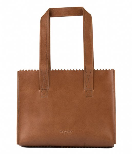 MYOMY Schoudertas MY PAPER BAG Handbag hunter waxy cognac (1057-6034)