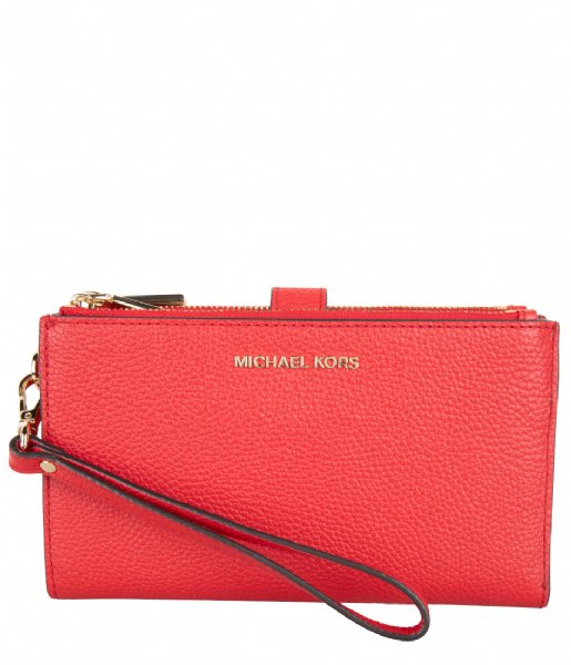 Michael Kors Clutch Double Zip Wristlet bright red & gold colored hardware