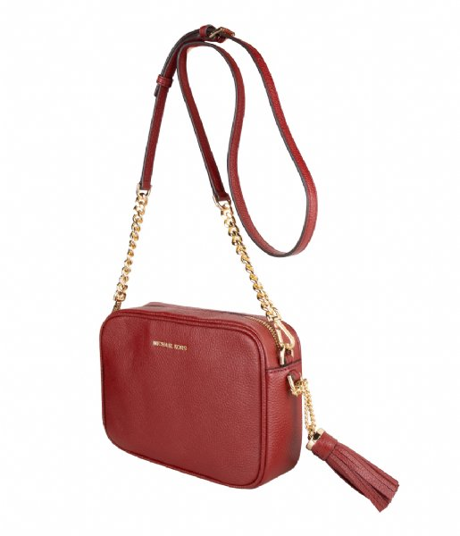 Michael Kors Crossbodytas Jet Set Medium Camera Bag red & gold hardware