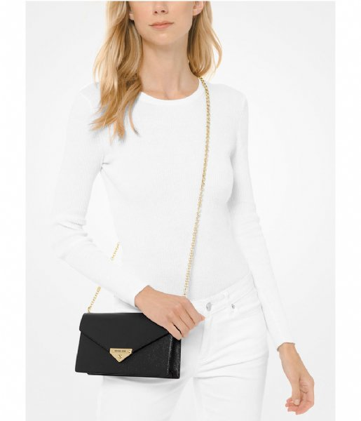 Michael Kors Crossbodytas Medium Envelope Clutch black & gold colored hardware