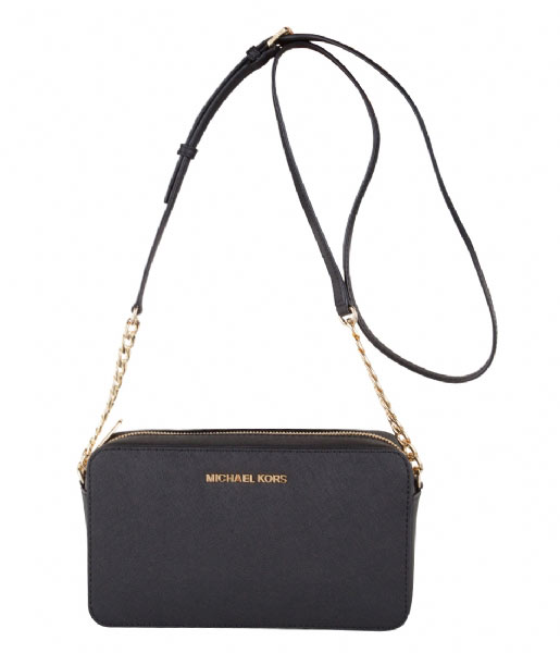 26ff9f6cc87 Jet Set Travel Medium EW Crossbody black & gold hardware Michael Kors | The  Little Green Bag