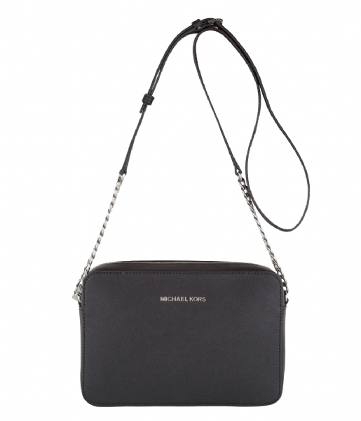 cf9640c7dbd Jet Set Travel Large EW Crossbody black & silver hardware Michael Kors |  The Little Green Bag