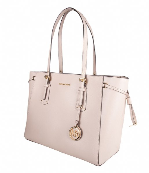 Voyager Medium Top Zip Tote soft pink & gold colored