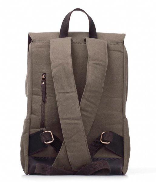 O My Bag Laptop rugzak Mau Backpack 15 Inch olive waxed canvas / dark brown hunter