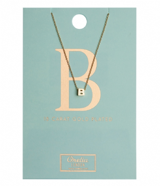 Orelia Ketting Necklace Initial B pale gold plated (10752)
