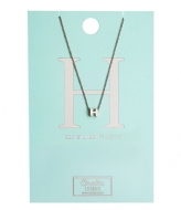 Orelia Necklace Initial H silver plated (20131)
