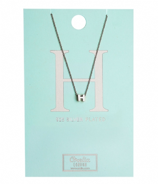 Orelia Ketting Necklace Initial H silver plated (20131)