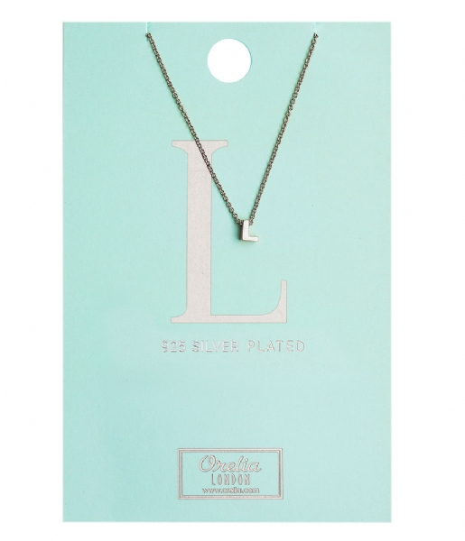Orelia Ketting Necklace Initial L silver plated (10376)