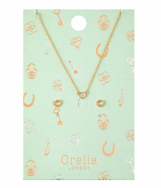 Orelia Oorbellen Open Heart Earring Necklace pale gold plated (22086)