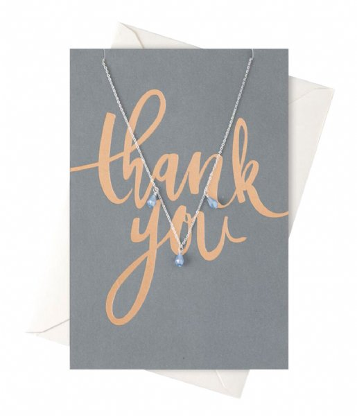 Orelia Ketting Thank You Drop Necklace Giftcard silver plated (22100)