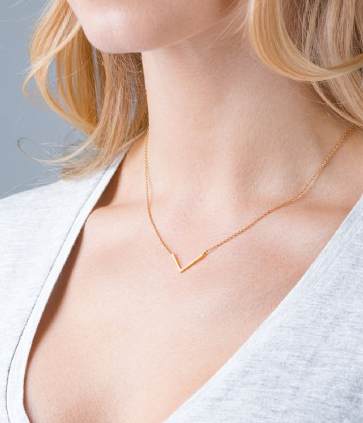 Orelia Ketting Clean V Necklace pale gold plated (8041)