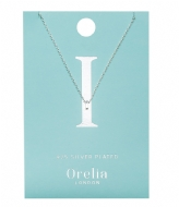 Orelia Necklace Initial I silver plated (ORE21147)