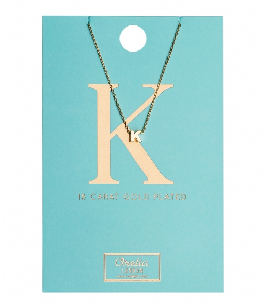 Orelia Ketting Necklace Initial K pale gold plated (21148)