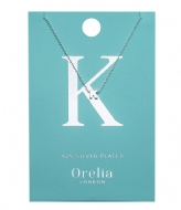 Orelia Necklace Initial K silver plated (21149)