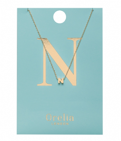 Orelia Ketting Necklace Initial N pale gold plated (21150)
