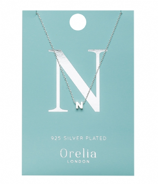 Orelia Ketting Necklace Initial N silver plated (21151)