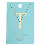 Orelia Necklace Initial T pale gold plated (21160)