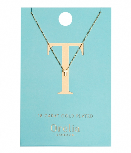 Orelia Ketting Necklace Initial T pale gold plated (21160)