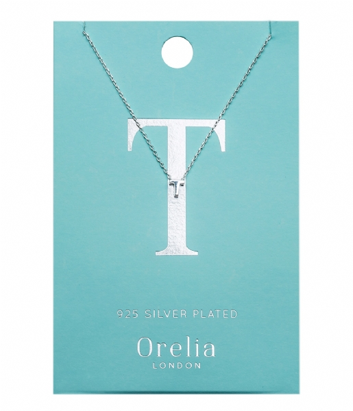 Orelia Ketting Necklace Initial T silver plated (21161)