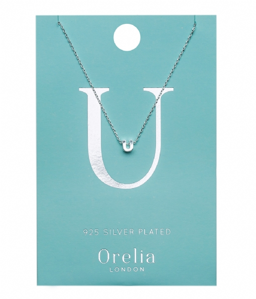 Orelia Ketting Necklace Initial U silver plated (21163)