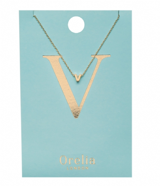 Orelia Ketting Necklace Initial V pale gold plated (21164)