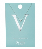 Orelia Necklace Initial V silver plated (21165)