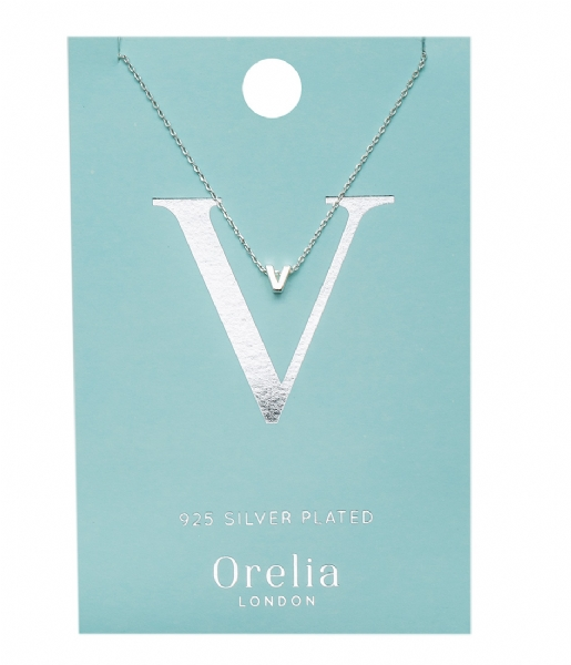 Orelia Ketting Necklace Initial V silver plated (21165)