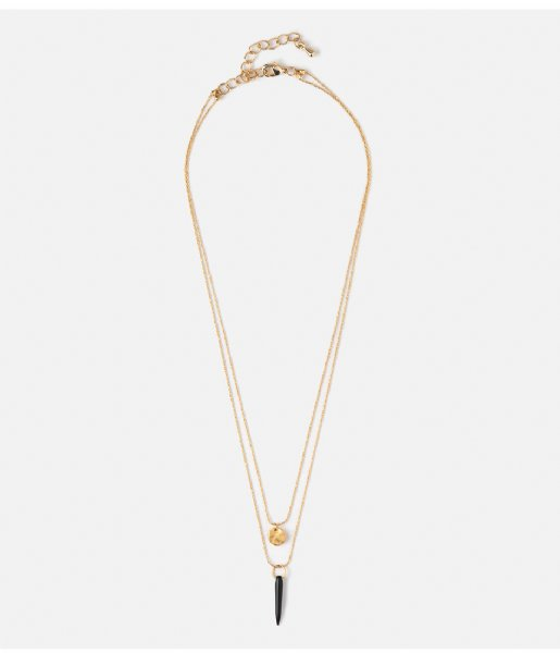 Orelia Ketting Mini Coin Spike 2 Row Necklace pale gold plated (23339)