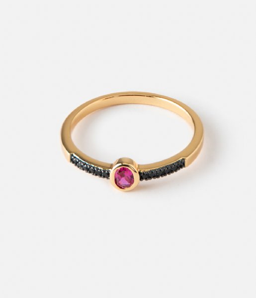 Orelia Ring Oval Jewel Ring pale gold plated (23353)