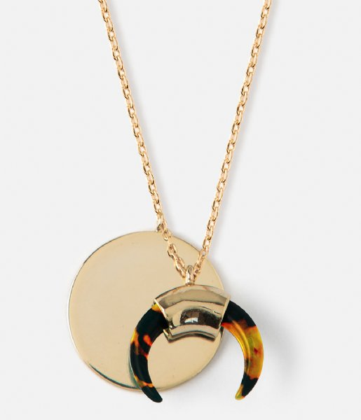 Orelia Ketting Tortoiseshell Cresecent Ditsy Necklace gold tortoise brown plated (ORE24274)