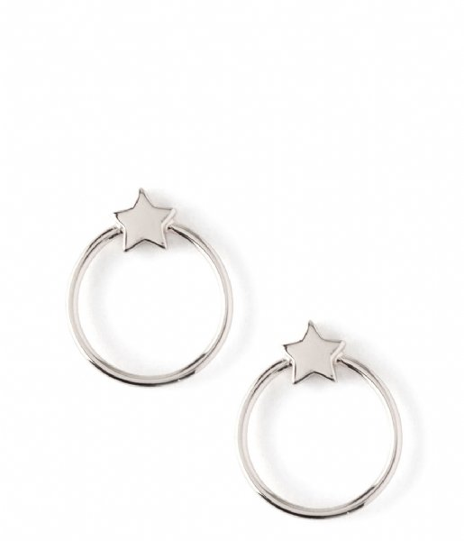 Orelia Oorbellen Front Facing Metal Star Hoops silver colored (ORE24003)