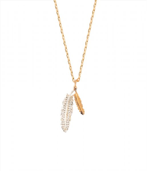 Orelia Ketting Double Feather Ditsy Necklace mixed (ORE24078)