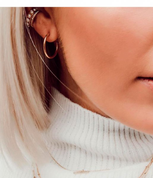 Orelia Oorbellen Chunky Mid Size Hoops pale gold plated (ORE24000)